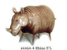 """Cute Wildlife Rhinoceros Painted Metal Figurine 5"""" long 4464-4"""