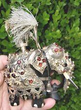 5.5� Complete Kandy Elephant 74 Gems Sterling Silver Ebony Wood Antique Figurine