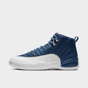 Air Jordan 12 Indigo Retro Stone Blue White Men shoes