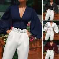ZANZEA 8-24 Women V Neck Button Up Shirt Tee Blouse Vintage Long Puff Sleeve Top