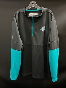 MIAMI DOLPHINS COACHES GAME USED 1/4 ZIP UP DRI FIT LONG SLEEVE GRAY/AQUA 3XL