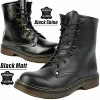 NEW GIRLS LEATHER ANKLE DR DOC WOMENS BOOTS CLASSIC 7 EYELET PUNK SHOES SIZE 3-8