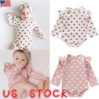 Newborn Infant Baby Girls Cotton Heart Printed Bodysuit Romper Clothes Jumpsuit