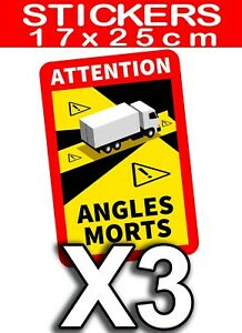 KIT de 3 STICKERS POUR CAMPING CAR ANGLE MORT NORME 2021 AUTOCOLLANT ADHESIF