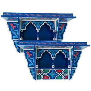 Set of 2 Painted Moroccan shelf, Wall Shelves Floating Shelves Vintage Blue