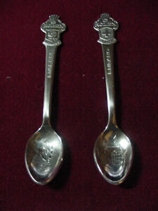 2 Vintage ROLEX Souvenir Spoon CITY OF LUGANO , LUCERNE -BUCHERER OF SWITZERLAND