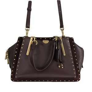 Coach Dreamer With Rivets 35617 Mixed Leather Satchel Crossbody Oxblood