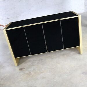 Ello Black Glass and Gold Anodized Aluminum Small Server Credenza Cabinet