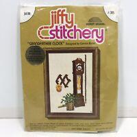 "Vintage Grandfather Clock Jiffy Stitchery Embroidery Kit 5x7"" 1976 Connie Blyler"