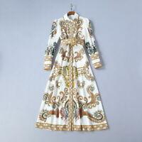 2019-2020 Womens Designer Inspired Luxury Vintage Pattern Floral Maxi Dress