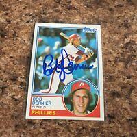 Bob Dernier Signed 1983 Topps Auto Philadelphia Phillies