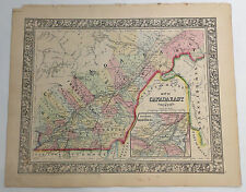 1860 Mitchell's Huge Hand Tinted Colored Map East Canada Counties Quebec