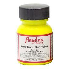Angelus Acrylic Leather Paint Water Resistant  Neon Tropic Sun Yellow - 1 Fl.OZ