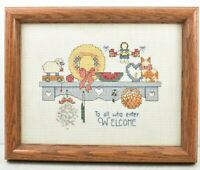 Finished Completed Cross Stitch To all who Enter Welcome Framed 8x9 Kitty Flower