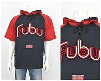 Vintage FUBU Mens Hoodie Sweatshirt Short Sleeve Red Black Spell Out 90s Size XL