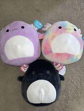 "❤️Squishmallow 12"" Axolotl Lot Of 3 Purple Monica Black Jaelyn TieDye Tinley NWT"