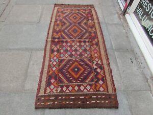 Vintage Kilim Traditional Hand Made Oriental Brown Wool Kilim Runner 198x91cm