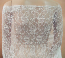 "Ivory Chantilly Floral Bridal Lace Fabric 59"" Wide for Wedding Dress 0.5 Yard"