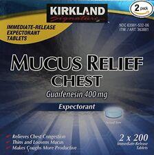 Kirkland Signature MUCUS RELIEF CHEST Guaifenesin 400mg Expectorant 400 ct
