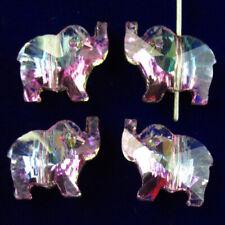 4pcs geschnitzt facettiert rosa blau TITAN Kristall Elefant Anhänger Bead k87835