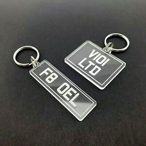 Personalised Number Plate Keyring Car Bike Clear Acrylic Laser Cut Gift UK