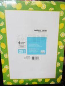 "Lemons Designer Printer Paper - 25 sheets per pack 8 1/2 x 11""  Lot of 4 Packs"