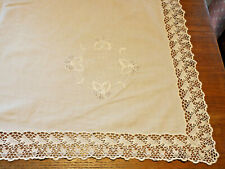 Vintage White Cotton Embroidered & lace border . 88 cm square Tablecloth