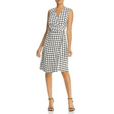 Kenneth Cole New York Womens Grid Print Sleeveless Cocktail Dress BHFO 2846