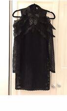 Self Portrait Fitted Black Dress Short Open Back UK 6