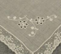 Vtg Antique Handkerchief Hanky White lace Embroidered Bride Wedding Hankie