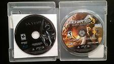 2 PS3 Game Lot Skyrim: The Elder Scrolls V and Uncharted 3: Drake's Deception