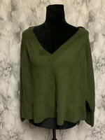 Anthropologie Size XL Green 100% Merino Wool Knit Deep V-Neck Pullover Sweater