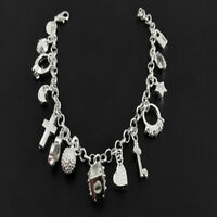 Sterling Silver Filled Fashion Women 13 Charm Pendant Beautiful Bracelet Jewelry