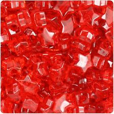 50 Red Transparent Star Shape 13mm Pony Beads Top Quality Pony Beads