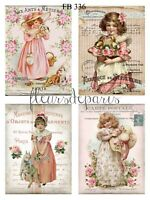 ~ Shabby Chic Vintage Girls Bunnies Roses 4 Prints on Fabric Quilting FB 336 ~