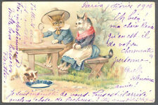Cats, Cat Lady and Man Drinking Beer in the Garden, Funny Old Postcard 1904