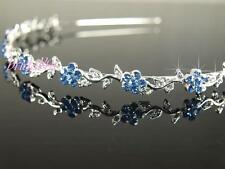 Nuziale Prom Blu Crystal Flower Girl Cerchietto diadema sposa Damigelle t055b
