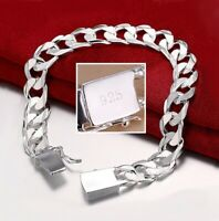 925 Sterling Silver Cuban Link Chain Womens 8mm Bracelet D454G