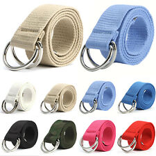 Unisex Mens Womens Canvas Fabric Double D Ring Buckle Belt Strap Band Waistband