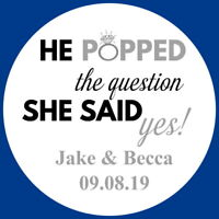 HE POPPED THE QUESTION SILVER PERSONALISED ENGAGEMENT HEN  GLOSS PARTY  STICKERS