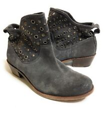 Hoss Intropia charcoal Studded Suede Ankle Boot Booties Size 39 8.5