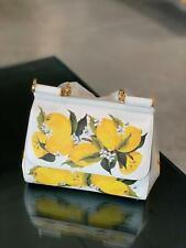 Dolce & Gabbana Miss Sicily Medium White Lemons Print Bag Authentic NWT