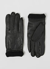 ❄️ NEW Sz Large Leather Selected Men's Gloves Black Ribbed Cuff Fleece Lined