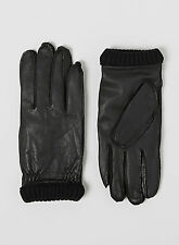 ❄️❄️ NEW Sz Large Leather Selected Men's Gloves Black Ribbed Cuff Fleece Lined
