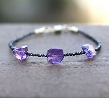 Natural Amethyst and Black Spinel Bracelet 14K Gold Filled 6th 22nd 33rd Anniver
