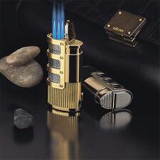 Jobon Torch Windproof Triple Jet Flame Refillable Butane Gas Cigar Lighter NEW