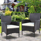 GOPLUS 2PC Chairs Outdoor Patio Rattan Wicker Dining Arm Seat With Cushions