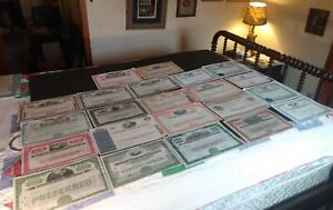 1946-1987 STOCK CERTIFICATES LOT OF 22 ILLUSTRATED ENGRAVED ORIGINAL ANTIQUE