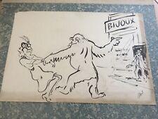 DESSIN ORIGINAL signé ALBERT (DUBOUT) - GORILLE ET JEUNE FEMME