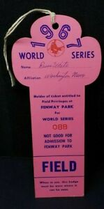 1967 Boston Red Sox World Series Ticket Pass GM 2 Yastrzemski HR/Fenway Park Mt